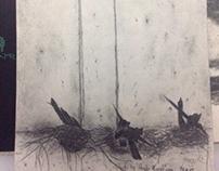 Drawings on banyan tree paper