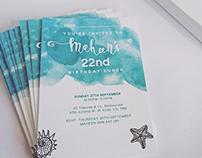 22nd Birthday Invitation Card Design & Print Design