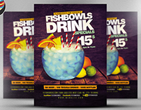 Fish Bowl and Drink Flyer Template