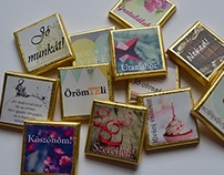 Tiny chocolate with positive slogans