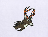 TAXIDERMY HORNED DEER HEAD EMBROIDERY DESIGN