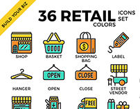 Retail outline colour icon