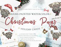 Christmas Watercolor Pug Cards