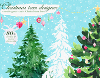 "Watercolor illustrations set ""Christmas trees designer"""