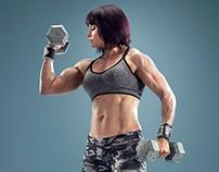 Louise Plumb bodybuilding portrait, circles project