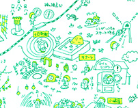 """Handwritten map """"echigo tsumari art triennale 2015"""""""