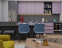 Green pink blue. Apartment in Macedonia