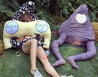 """Creepy Comforts"" bean bags at LOST art festival."