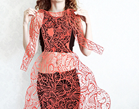 "Paper cut lace red dress ""Lovers"""