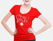 Free Smiling Woman Wearing V-Shape T-Shirt Mockup PSD