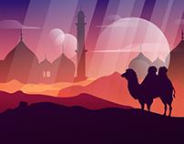 Sunset desert.