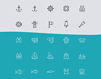 Nautical Line Vector Icons