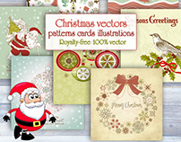 Christmas vectors, illustrations, cards, patterns