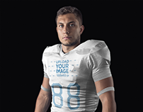 Football Jersey Generator - Man Standing in Black Room