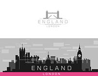London,Paris Logo With city scape,silhouette monochrome