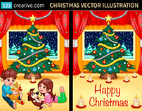 Christmas scene vector illustration with cute children