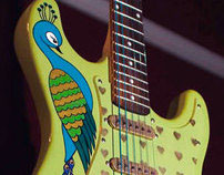 """""""Peacock"""" acrylic on guitar"""