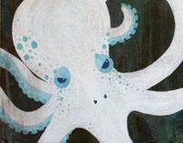 """""""Sacrifice to the Kraken"""" acrylic & oil on board"""