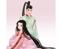 """Illustration for the cover of book """"Hyakunin-isshu"""""""