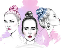 Hair Illustration - Topknots