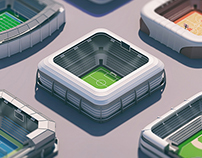 3d isometric stadiums