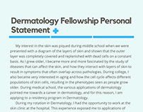 Dermatology Fellowship Personal Statement Sample