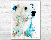 Polar bear watercolor painting by Slaveika Aladjova