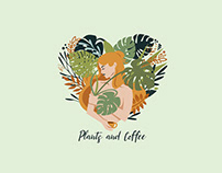 Plant and coffee plant lady t-shirt design