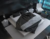 Black&white interior of bedroom