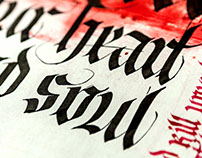 Student work in gothic calligraphy