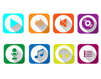 Music Flat Icons (Vector)