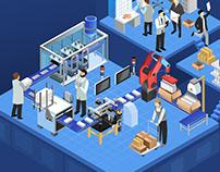 isometric illustration - pharmaceutical production