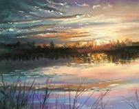 """Sunset on the lake"". Pastel. 42*30cm."