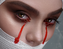 Beauty Woman with Bandage and creative Makeup