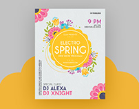 Free Electro Spring Party Flyer PSD Template