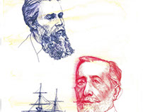 Portraits of Joseph Conrad and Herman Melville
