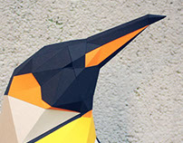 Lowpoly paper penguin
