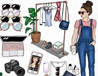 Blogger Babe - Hand Drawn Clip Art & Digital Paper Set