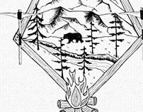 Canadian Wilderness Rustic Landscape Ink Illustration