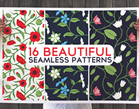 16 Beautiful Floral Seamless Vector Patterns