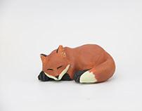 Sleeping Fox Sculpture