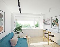 Дизайн студии 17,8 кв.м на Профсоюзной 69