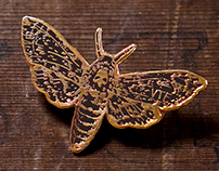 Death's Head Hawkmoth Enamel Pin Badge