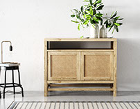 Rattan scanned panel in Crate and Barrel console