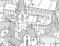 Medieval SIBIU - details from an aerial view