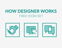How Designer Works - Free Icon Set