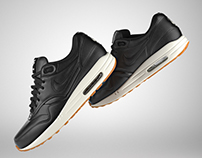 Air max 1 3d model black leather.