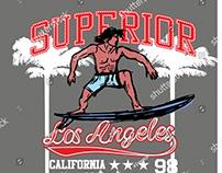 Superior surfer graphic design vector art