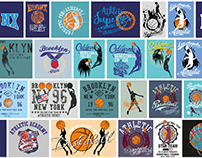 Basketball college sports set graphic tees design