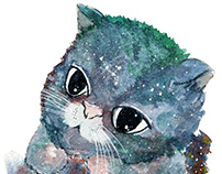 Galaxy Cats Watercolor